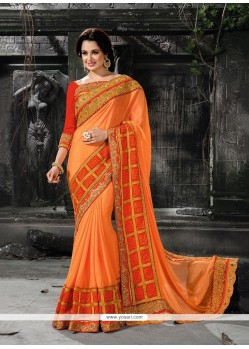 Aesthetic Orange Patch Border Work Faux Chiffon Designer Traditional Sarees