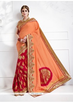 Adorning Peach And Red Embroidered Work Jacquard Silk Designer Traditional Sarees