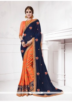 Surpassing Patch Border Work Orange Jacquard Silk Designer Traditional Sarees