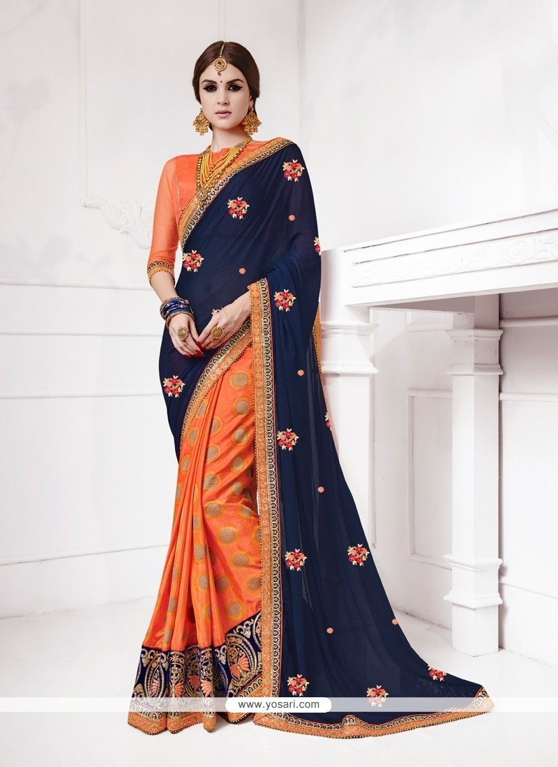 Surpassing Patch Border Work Orange Jacquard Silk Designer Traditional Sarees