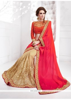 Riveting Georgette Beige Classic Designer Saree