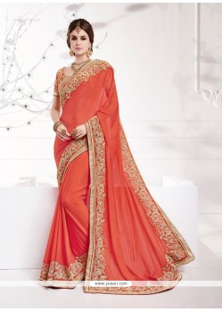 Floral Georgette Orange Classic Designer Saree
