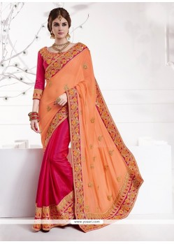 Sonorous Patch Border Work Hot Pink Classic Designer Saree