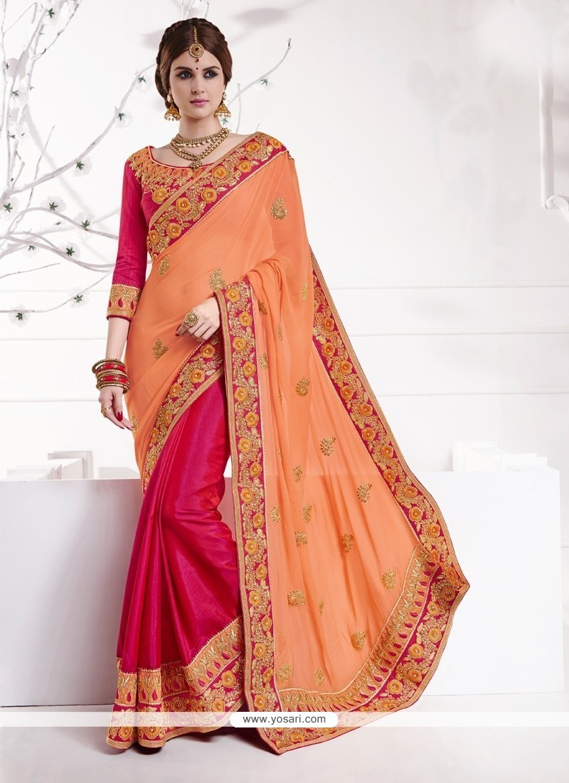 Sonorous Patch Border Work Hot Pink Classic Designer Saree