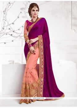 Strange Net Magenta Patch Border Work Designer Traditional Sarees