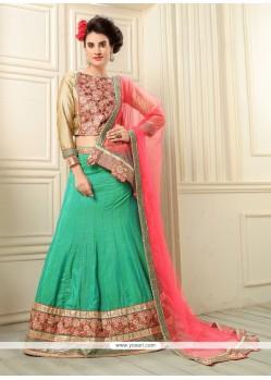 Beckoning Embroidered Work Green Banarasi Silk A Line Lehenga Choli