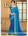Markable Blue Chiffon Saree