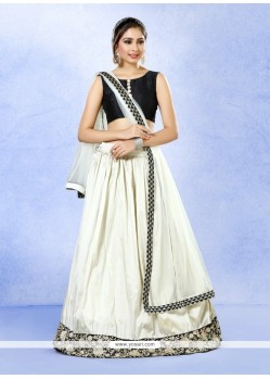 Amusing Off White Patch Border Work Silk A Line Lehenga Choli