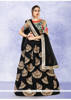 Mod Patch Border Work Black Banglori Silk A Line Lehenga Choli