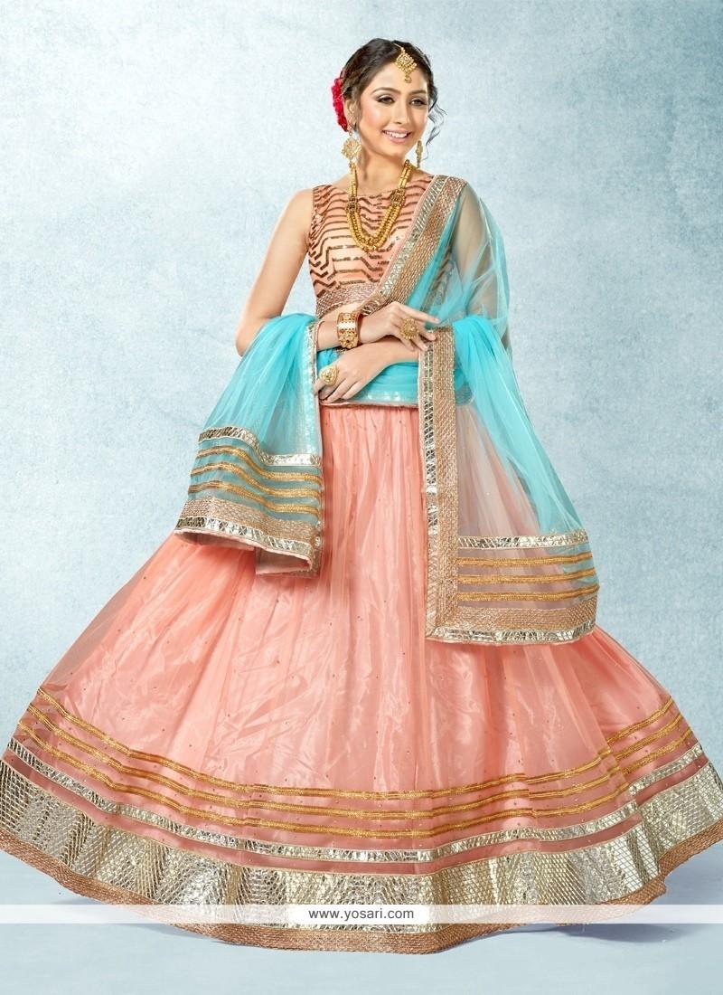 Vivacious Net Pink A Line Lehenga Choli