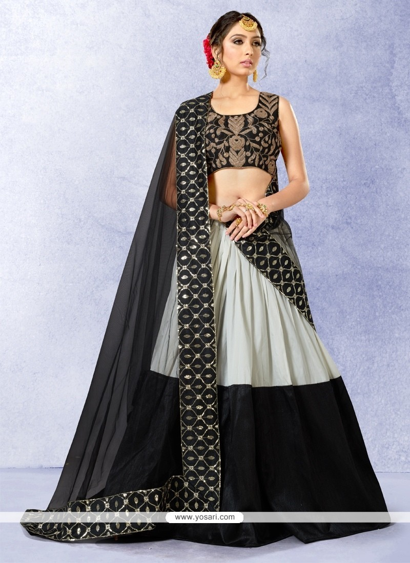 Majestic Banglori Silk Black A Line Lehenga Choli