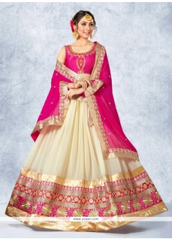 Titillating Georgette Hot Pink And Off White Patch Border Work A Line Lehenga Choli