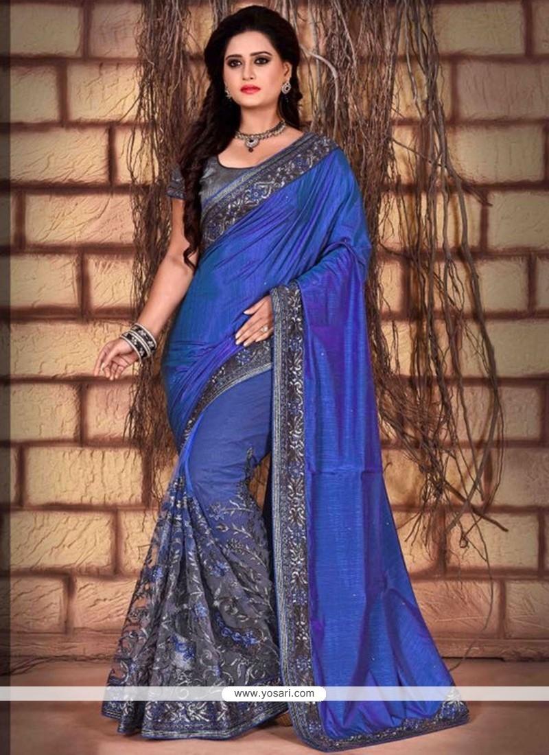 Imperial Net Embroidered Work Classic Designer Saree
