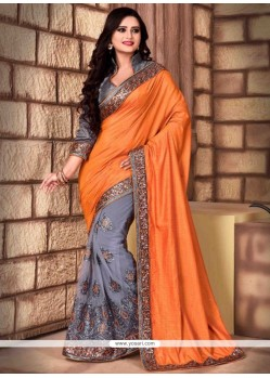 Strange Grey Net Traditional Saree