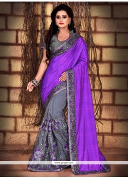 Regal Purple Net Classic Saree