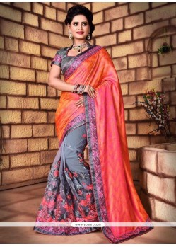 Capricious Net Patch Border Work Trendy Saree