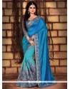 Blue Embroidered Work Silk Traditional Saree