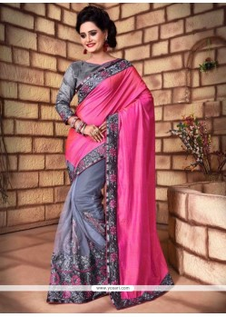 Pink Patch Border Work Net Classic Saree