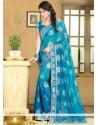 Marvelous Blue Chiffon Saree