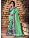 Urbane Sea Green Embroidered Work Net Trendy Saree