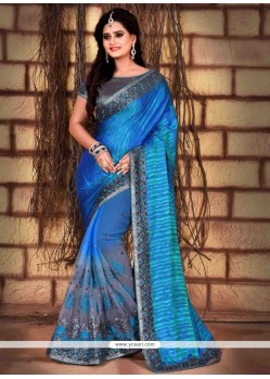 Exuberant Silk Embroidered Work Classic Designer Saree