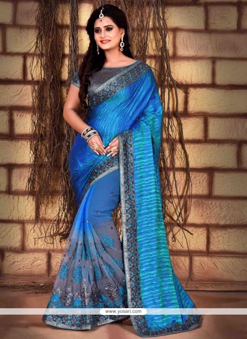 Exuberant Silk Embroidered Work Classic Designer Saree