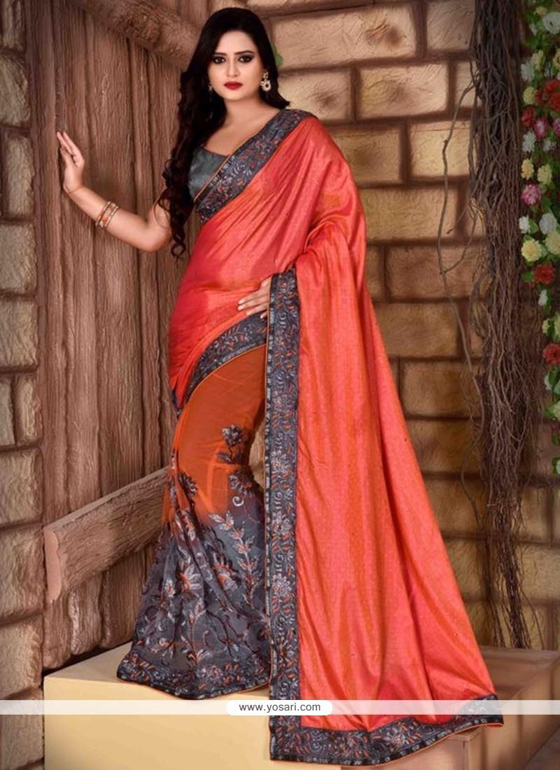 Elite Net Grey And Orange Traditional Saree