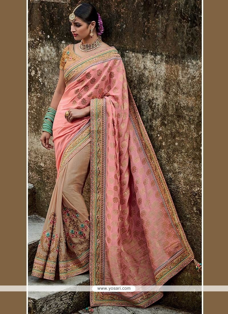 Sophisticated Faux Crepe Beige And Peach Embroidered Work Designer Half N Half Saree