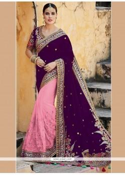 Distinctive Patch Border Work Pink And Purple Art Silk Designer Half N Half Saree