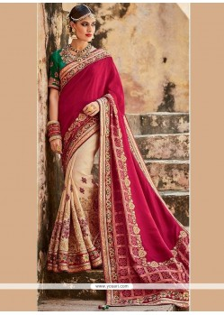 Royal Art Silk Beige And Maroon Patch Border Work Designer Half N Half Saree
