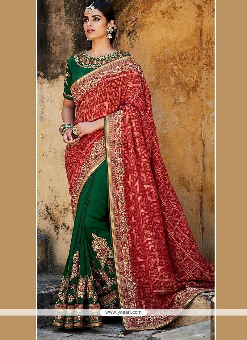 Phenomenal Green And Red Embroidered Work Art Silk Designer Half N Half Saree