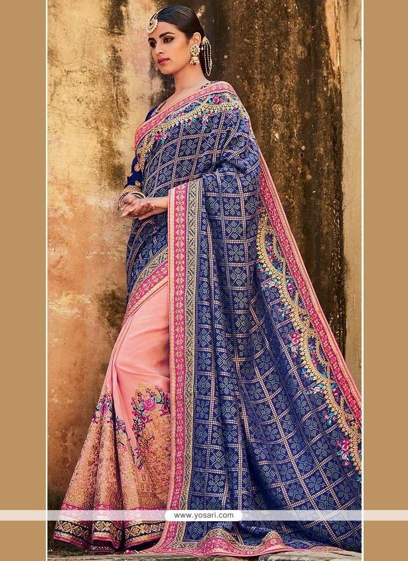 Jazzy Art Silk Patch Border Work Designer Half N Half Saree
