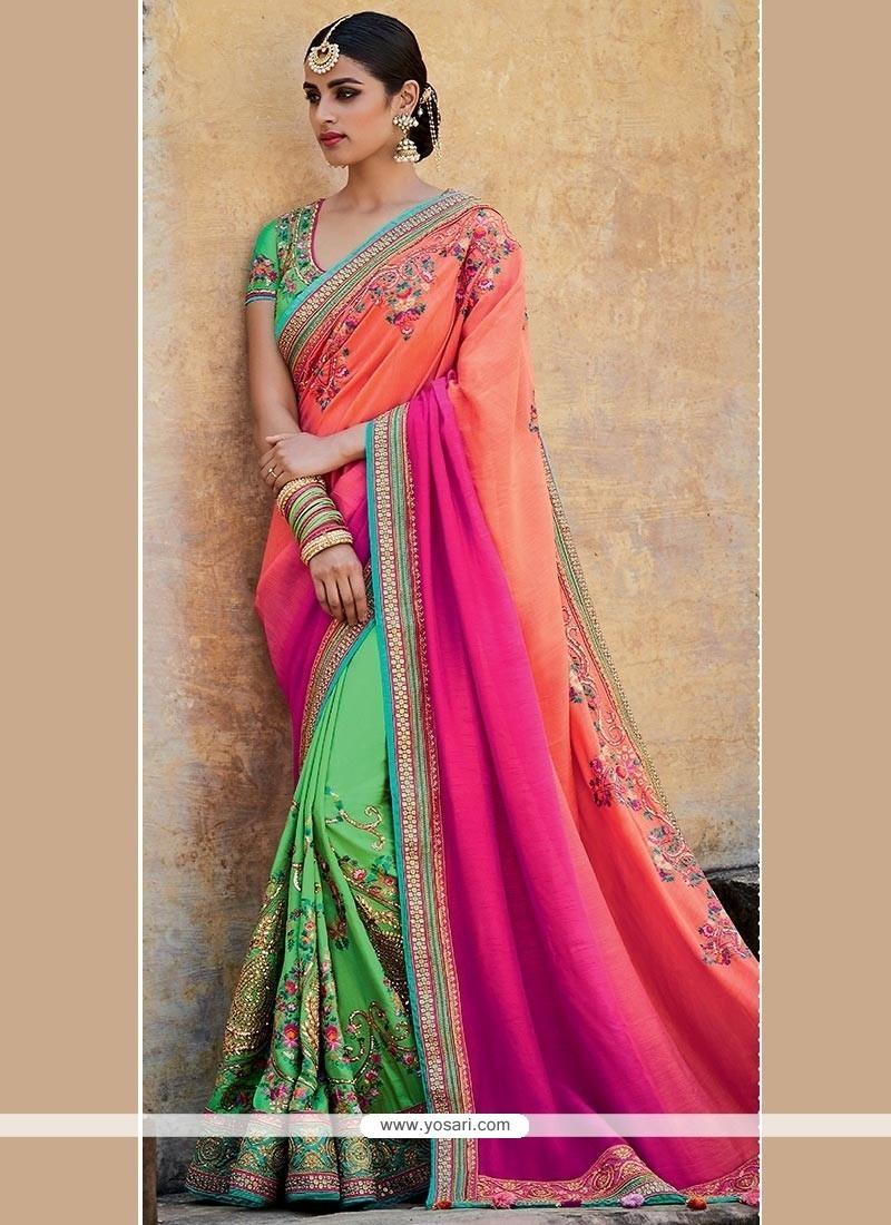 Tempting Art Silk Designer Half N Half Saree