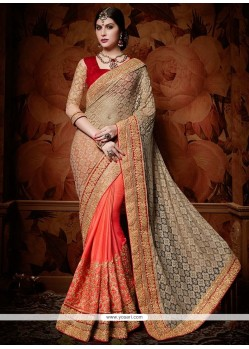 Ravishing Fancy Fabric Grey And Orange Designer Half N Half Saree