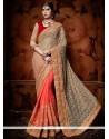 Ravishing Fancy Fabric Grey And Orange Designer Half N Half Saree