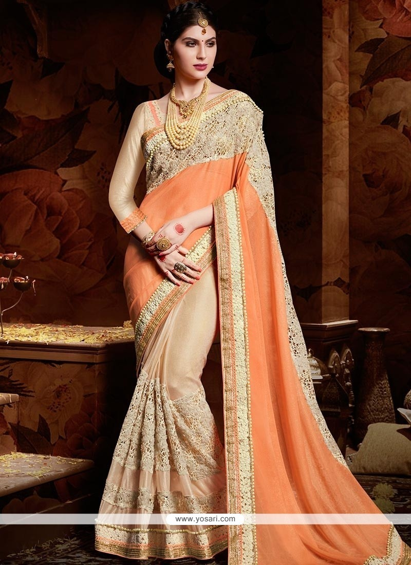 Lively Embroidered Work Georgette Designer Half N Half Saree