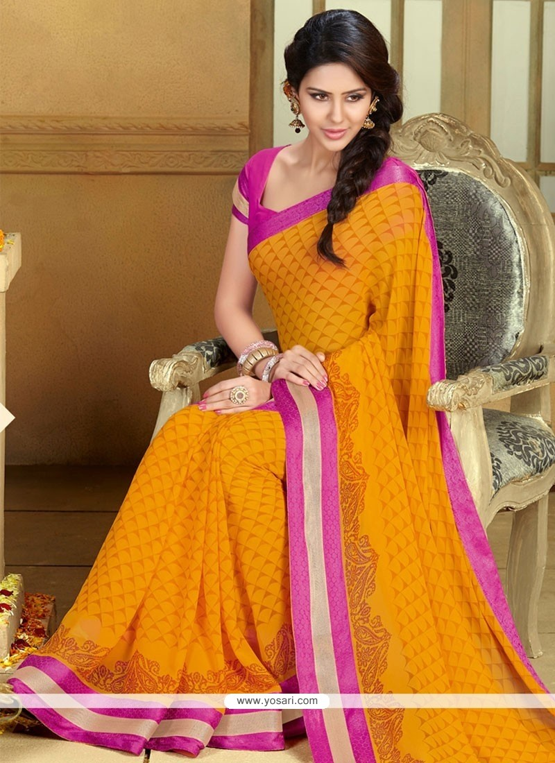 Observable Mustard Georgette Casual Saree
