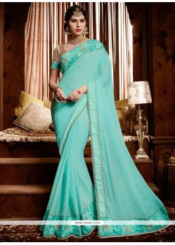 Observable Satin Turquoise Patch Border Work Classic Designer Saree