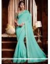 Observable Satin Turquoise Patch Border Work Classic Designer Saree
