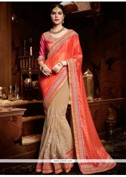 Vivacious Beige And Orange Net Designer Half N Half Saree