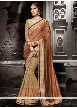 Elite Fancy Fabric Beige Designer Half N Half Saree