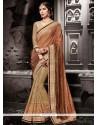 Elite Fancy Fabric Beige Designer Half N Half Saree