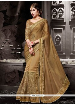 Aristocratic Embroidered Work Designer Half N Half Saree