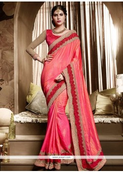 Rose Pink Embroidered Work Silk Designer Traditional Sarees