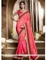 Rose Pink Embroidered Work Silk Designer Traditional Sarees
