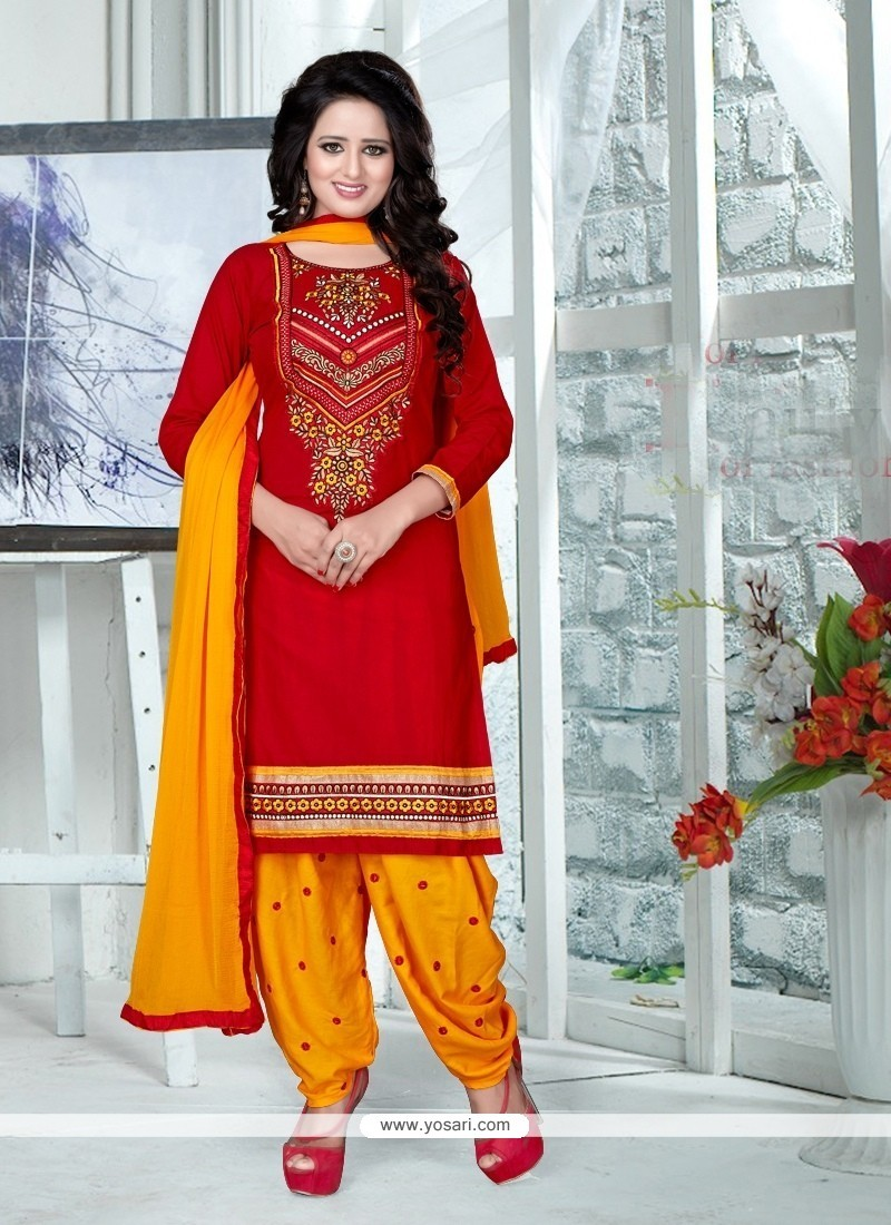 Staggering Cotton Red Punjabi Suit