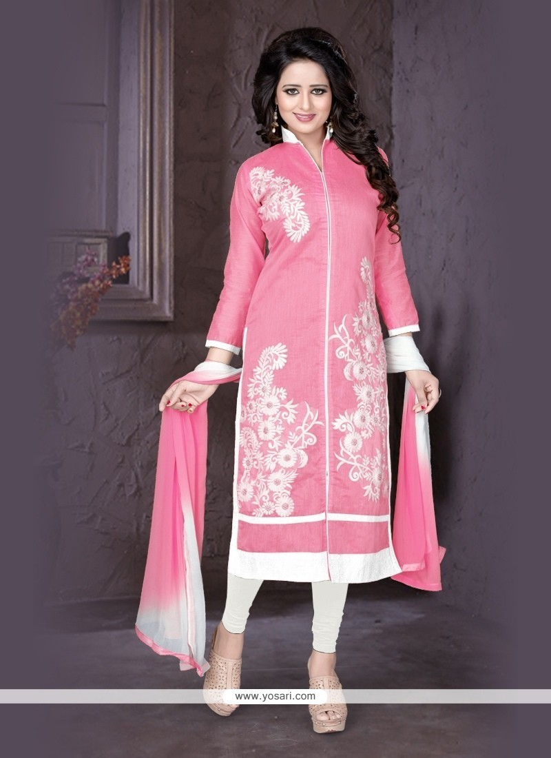 Preferable Chanderi Embroidered Work Churidar Designer Suit