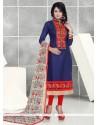 Pretty Resham Work Churidar Designer Suit