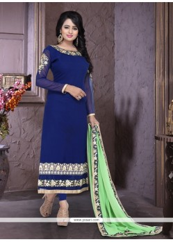 Graceful Embroidered Work Blue Georgette Churidar Designer Suit
