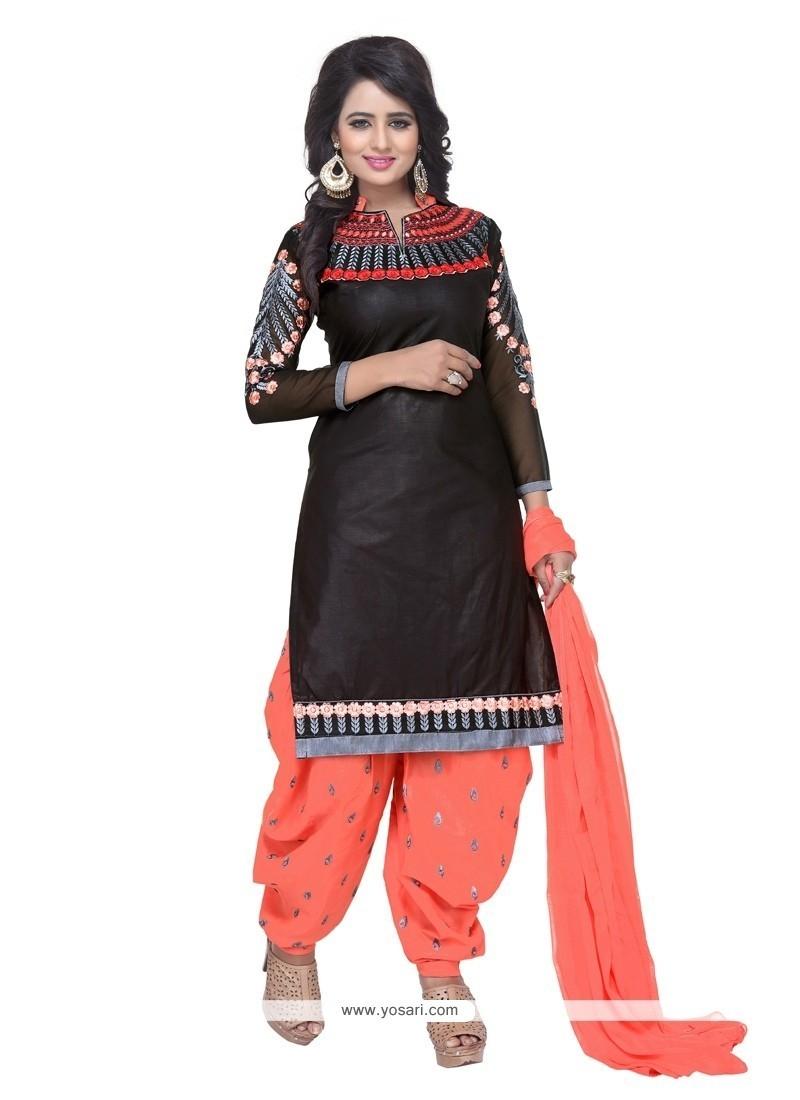 Fabulous Embroidered Work Cotton Punjabi Suit